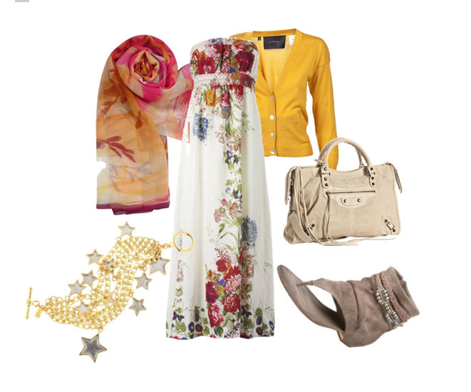 maxi dress + cardigan + scarf veil ^_______^