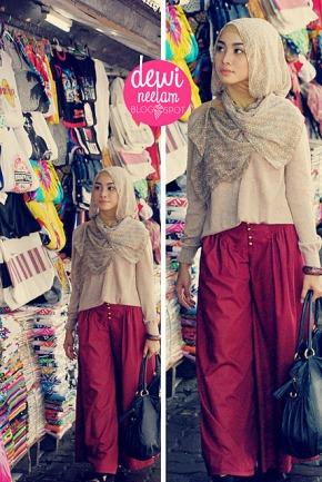 Irna wearing Wide pants (from her Blog)..