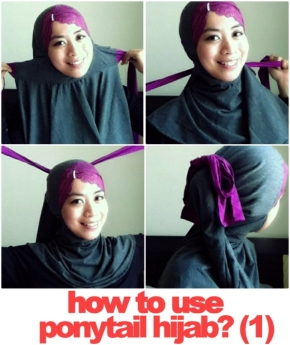 Tutorial for ponytail hijab